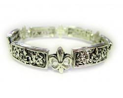 Silver Thick Bar Filigree Fleur De Lis Stretch Bracelet