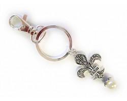 Antique Silver Textured Fleur De Lis Pearl Dangle Key Chain