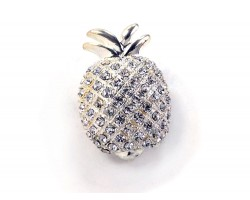 Silver Crystal Pineapple Brooch