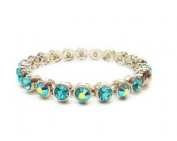 Aquamarine Crystal Silver Metal Magnetic Bangle