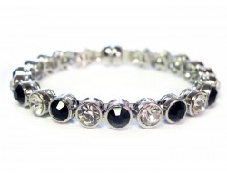 Black Clear Crystal Silver Metal Magnetic Bangle