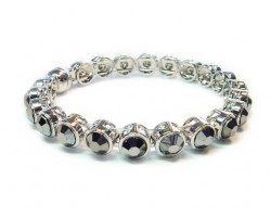 Hematite Crystal Silver Metal Magnetic Bangle