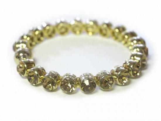 Light Colorado Topaz Crystal Gold Metal Magnetic Bangle
