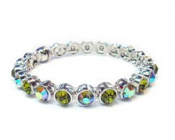 Olive Green Crystal Silver Metal Magnetic Bangle
