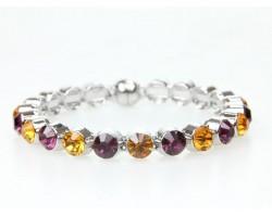 Purple Gold Crystal Metal Magnetic Bangle