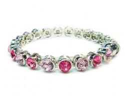 Light Rose, Rose, Rose AB Crystal Metal Magnetic Bangle