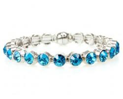 Round Blue Zircon Crystal Metal Magnetic Bangle
