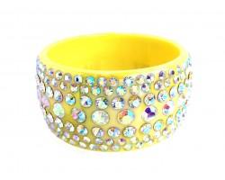 Yellow AB Crystal Bangle Bracelet
