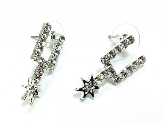 Clear Crystal Silver Spurs Post Earrings