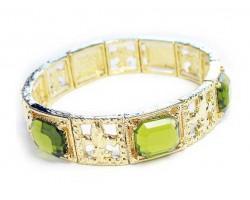 Gold Olive Square Fleur De Lis Stretch Bracelet