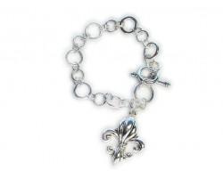 Silver Fleur De Lis Toggle Bracelet