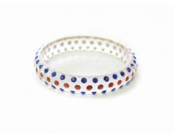 Clear Kids Orange Blue Crystal Bangle Bracelet