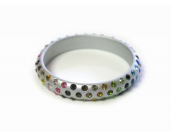 Silver Kids Dark Multi Crystal Bangle Bracelet