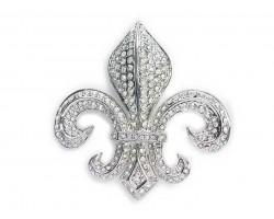 Silver Clear Crystal Large Fleur-De-Lis Brooch