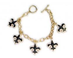 Gold, Black And White Fleur-De-Lis Charm Chain Toggle Bracelet