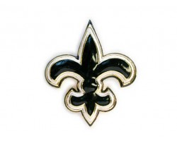 Gold, Black And White Fleur-De-Lis Brooch Pin 60mm