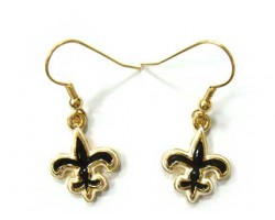 Gold Black & White Fleur De Lis Hook Earrings