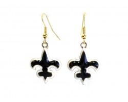 Gold Black & White Fleur De Lis Hook Earrings