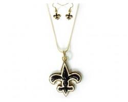 Gold Black White Fleur-De-Lis Chain Necklace Set