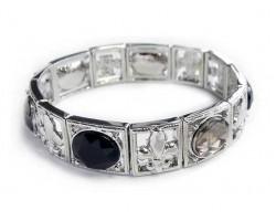 Silver Black Square Fleur De Lis Stretch Bracelet