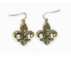 Gold Fleur De Lis Filigree Euro Clip Earrings
