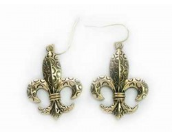 Gold Fleur De Lis Circle Design Euro Clip Earring