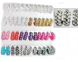 Assorted 3 Row Lg Crystal Hoop Post Earring 24Pk