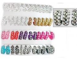 Assorted 3 Row Lg Crystal Hoop Post Earring 24Pk