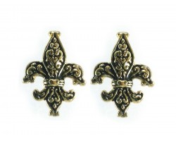 Gold  Fleur de Lis Filigree Post Earrings