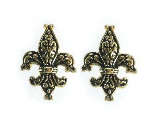 Gold  Fleur de Lis Filigree Post Earrings
