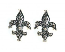Silver Fleur de Lis Filigree Post Earrings