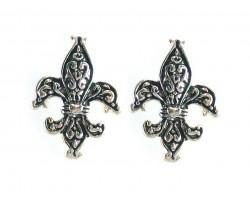 Silver Fleur de Lis Filigree Post Earrings