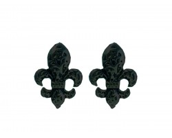 Black Filigree Fleur De Lis Post Earrings