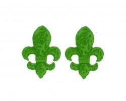 Green Filigree Fleur De Lis Post Earrings