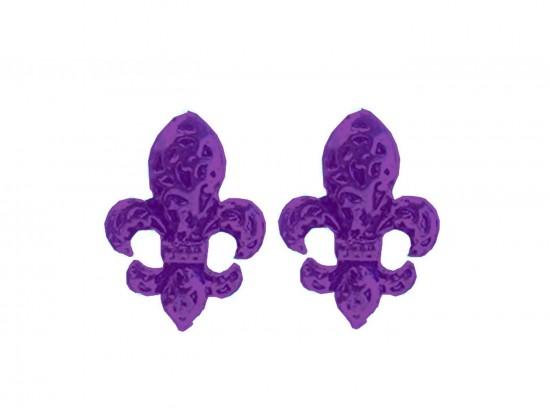 Purple Filigree Fleur De Lis Post Earrings