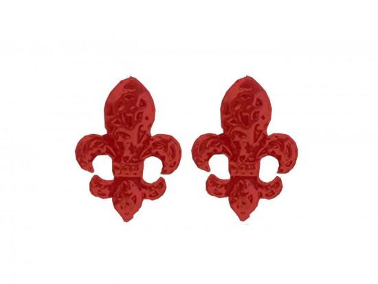 Red Filigree Fleur De Lis Post Earrings