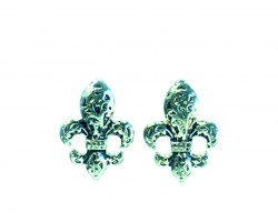 Silver Filigree Fleur De Lis Post Earrings
