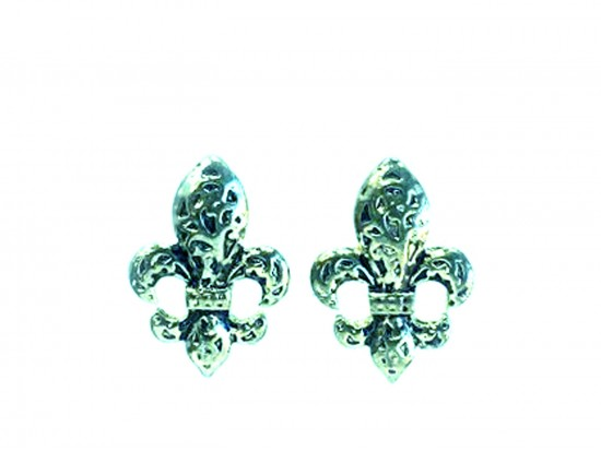 Silver Filigree Fleur De Lis Post Earrings