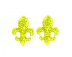 Yellow Filigree Fleur De Lis Post Earrings