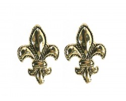 Gold Fleur De Lis Edge Post Earrings