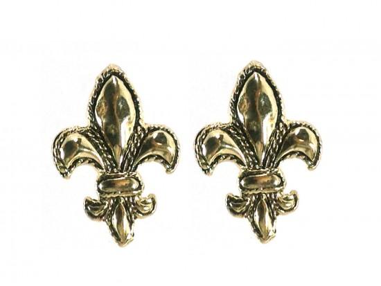 Gold Fleur De Lis Edge Post Earrings