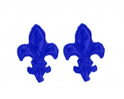 Blue Fleur De Lis Edge Post Earrings
