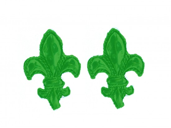 Green Fleur De Lis Edge Post Earrings