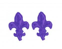 Purple Fleur De Lis Edge Post Earrings