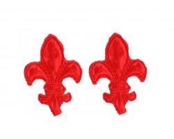 Red Fleur De Lis Edge Post Earrings