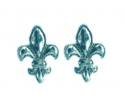 Silver Fleur De Lis Edge Post Earrings