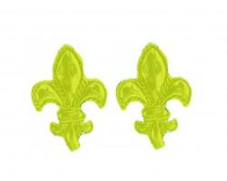 Yellow Fleur De Lis Edge Post Earrings