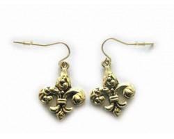Gold Half Filigree Fleur De Lis Hook Earring