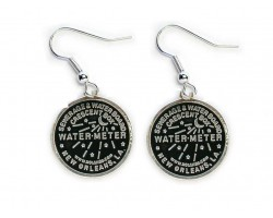 Antique SIlver Water Meter Hook Earrings