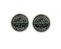 Antique Silver Water Meter Post Earrings